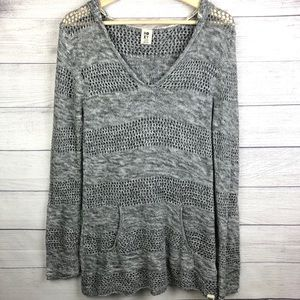 Roxy Sweater Hoodie Gray Marl Stripe Knit Top L